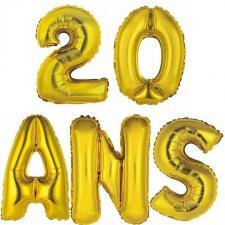 Ballon aluminium anniversaire 20ans or (x1)
