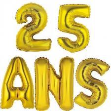 Ballon aluminium anniversaire 25ans or (x1)