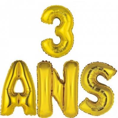 Ballon aluminium anniversaire or 3ans (x1) BA3000-BA3008