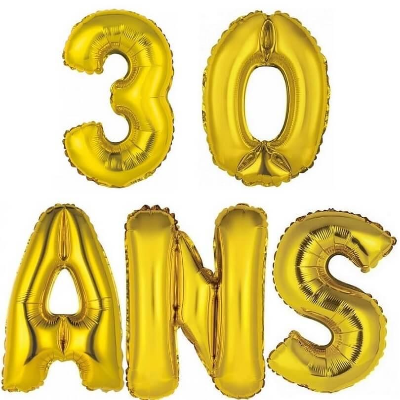 Ballon aluminium anniversaire or 30 ans
