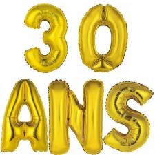 Ballon aluminium anniversaire 30ans or (x1)