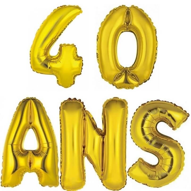 Ballon aluminium anniversaire or 40 ans