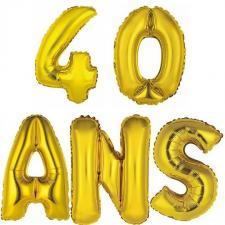 Ballon aluminium anniversaire 40ans or (x1)
