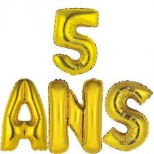 Ballon aluminium anniversaire or 5ans (x1) BA3000-BA3008
