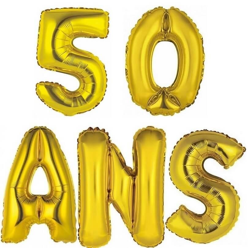 Ballon aluminium anniversaire or 50 ans