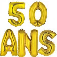 Ballon aluminium anniversaire 50ans or (x1)