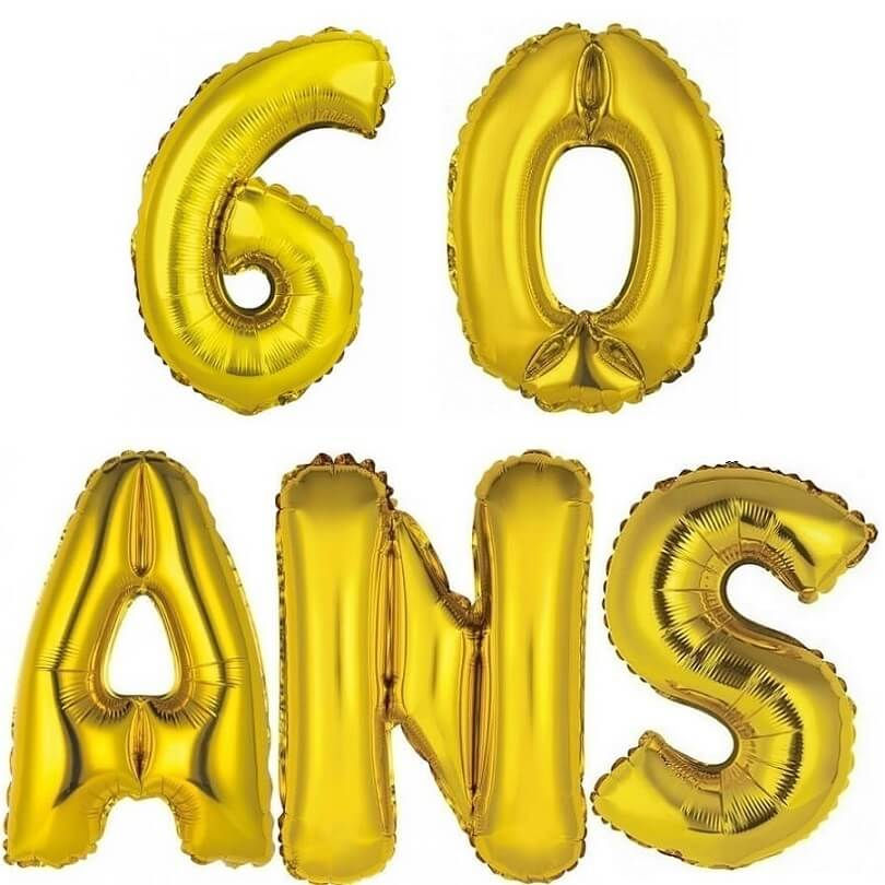 Ballon aluminium anniversaire or 60 ans