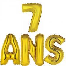 Ballon aluminium anniversaire or 7ans (x1) BA3000-BA3008