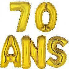 Ballon aluminium anniversaire 70ans or (x1)