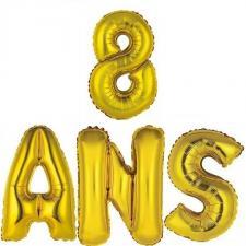 Ballon aluminium anniversaire or 8ans (x1) BA3000-BA3008