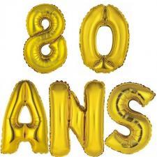 Ballon aluminium anniversaire 80ans or (x1)
