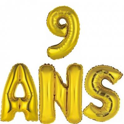 Ballon aluminium anniversaire or 9ans (x1) BA3000-BA3008