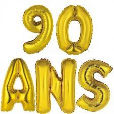 Ballon aluminium anniversaire or 90ans (x1) BA3000-BA3008