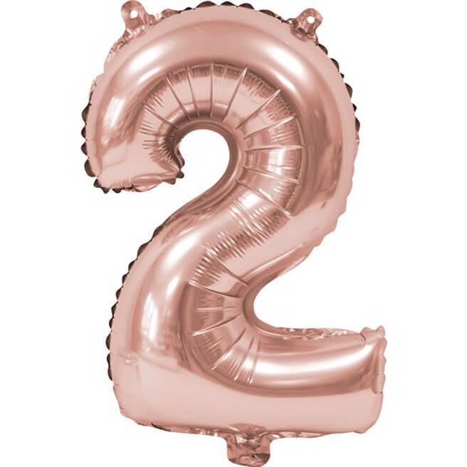 Ballon aluminium anniversaire rose gold chiffre 2