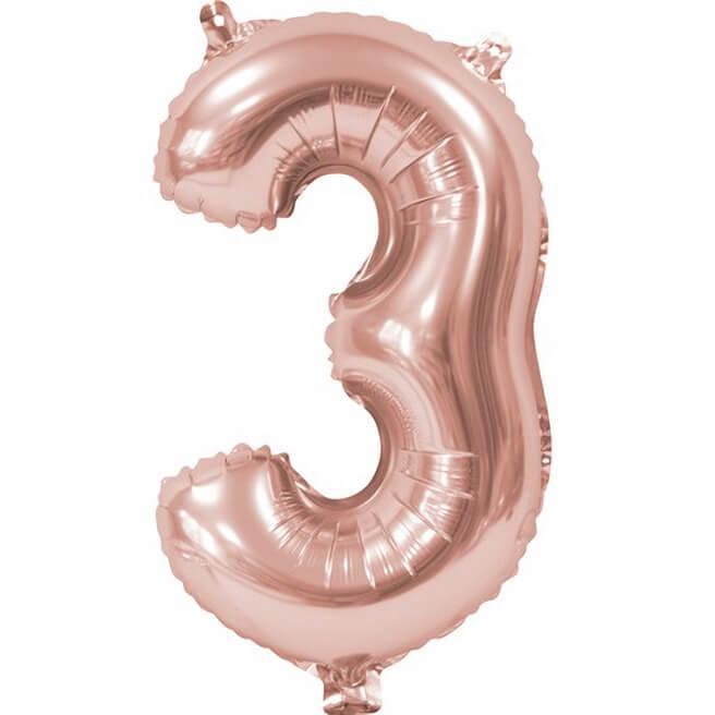 Ballon aluminium anniversaire rose gold chiffre 3