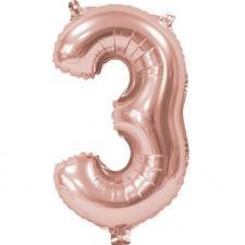 Ballon anniversaire chiffre 3 rose gold métallique aluminium (x1) REF/BA3000