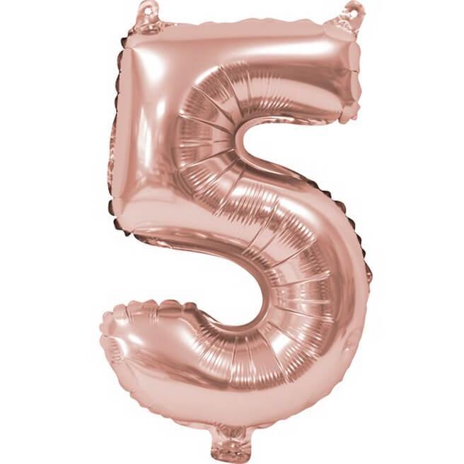 Ballon aluminium anniversaire rose gold chiffre 5