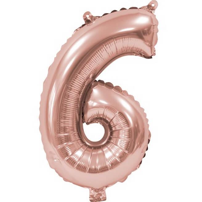 Ballon aluminium anniversaire rose gold chiffre 6