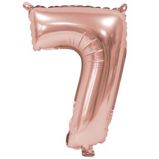 Ballon aluminium anniversaire rose gold chiffre 7