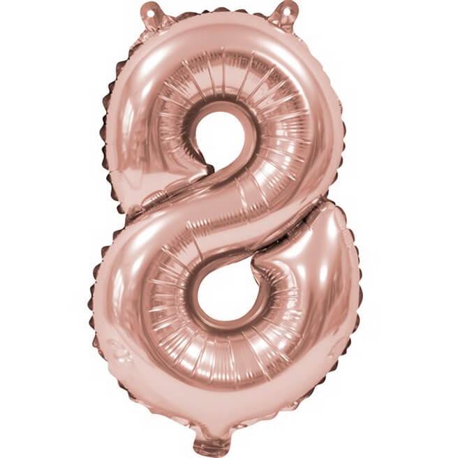 Ballon aluminium anniversaire rose gold chiffre 8