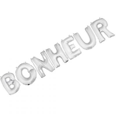 Ballon aluminium BONHEUR argent (x1) REF/BA3005