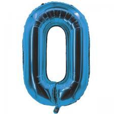 Ballon bleu aluminium chiffre 0 pour fête anniversaire 30cm (x1) REF/70050