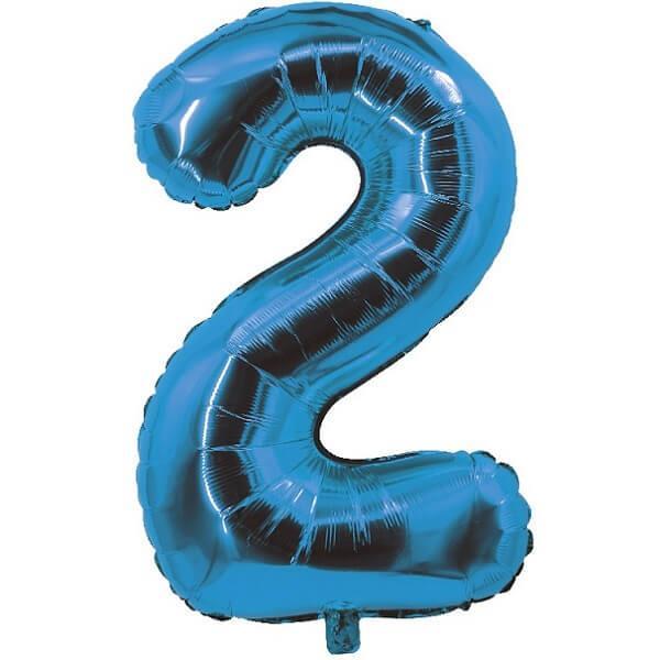 Ballon aluminium bleu chiffre 2 pour fete anniversaire