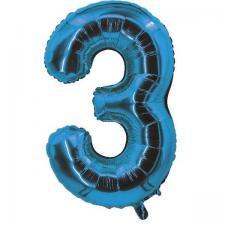 Ballon bleu aluminium chiffre 3 pour fête anniversaire 30cm (x1) REF/70053