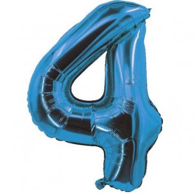 Ballon bleu aluminium chiffre 4 pour fête anniversaire 30cm (x1) REF/70054