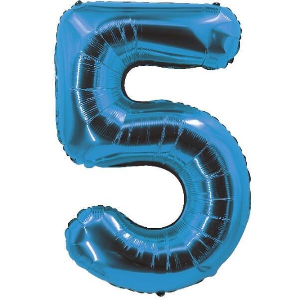 Ballon aluminium bleu chiffre 5 pour fete anniversaire