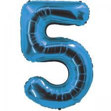 Ballon bleu aluminium chiffre 5 pour fête anniversaire 30cm (x1) REF/70055
