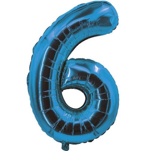 Ballon aluminium bleu chiffre 6 pour fete anniversaire