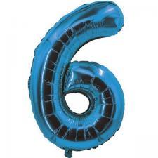 Ballon bleu aluminium chiffre 6 pour fête anniversaire 30cm (x1) REF/70056