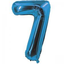 Ballon bleu aluminium chiffre 7 pour fête anniversaire 30cm (x1) REF/70057