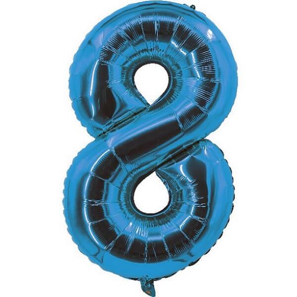 Ballon aluminium bleu chiffre 8 pour fete anniversaire