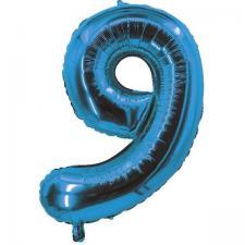 Ballon bleu aluminium chiffre 9 pour fête anniversaire 30cm (x1) REF/70059