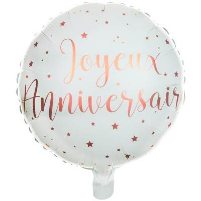 Ballon aluminium joyeux anniversaire blanc et rose gold métallisé (x1) REF/6238