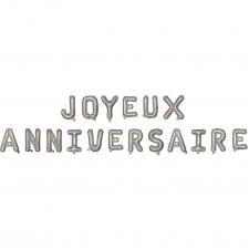 Ballon métallique aluminium joyeux anniversaire argent (x1) REF/19010