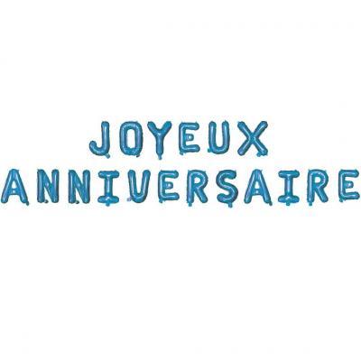 Ballon métallique aluminium joyeux anniversaire bleu électrique (x1) REF/19013