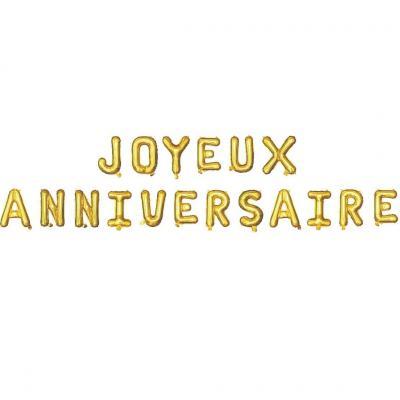 Ballon métallique aluminium joyeux anniversaire or (x1) REF/19011