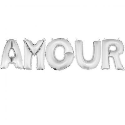 Ballon aluminium mariage amour argent (x1) REF/BA3005