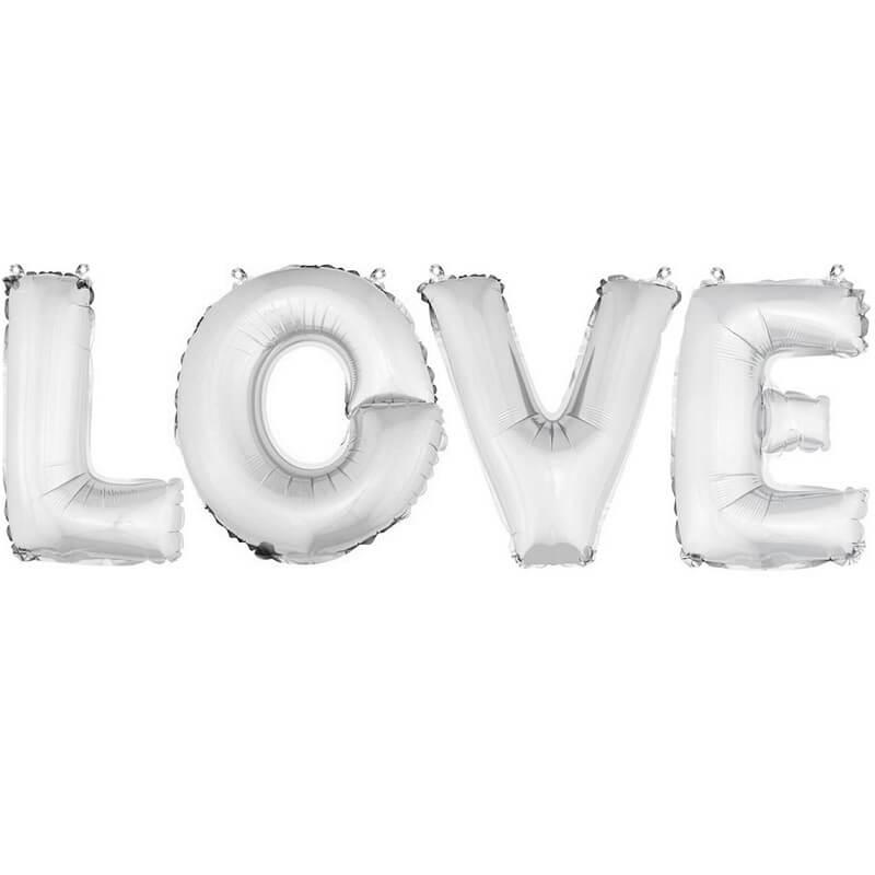 Ballon aluminium mariage love argent