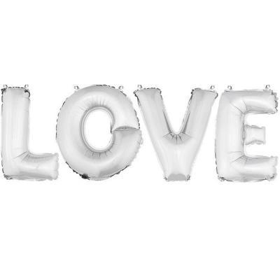 Ballon aluminium mariage LOVE argent (x1) REF/BA3005