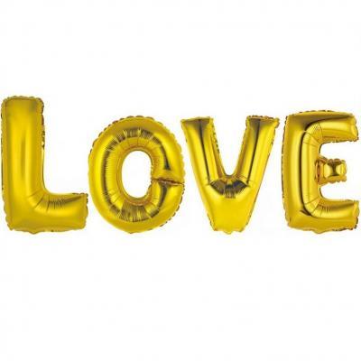 Ballon aluminium mariage LOVE or (x1) REF/BALMORL
