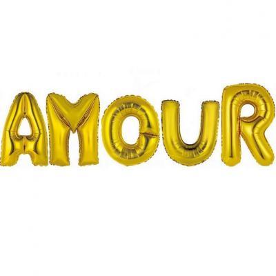 Ballon aluminium mariage amour or (x1) REF/BALMORL