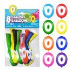 Ballon anniversaire chiffre 0 (x8) REF/BALBC0