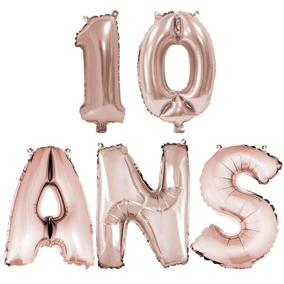 Ballon anniversaire 10 ans rose gold en aluminium
