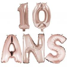 Ballon anniversaire rose gold métallique 10 ans aluminium (x1) REF/BA3000-BA3008