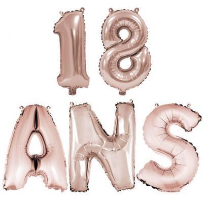 Ballon anniversaire rose gold métallique 18 ans aluminium (x1) REF/BA3000-BA3008
