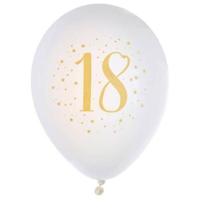 Ballon latex anniversaire 18ans blanc et or 23cm (x8) REF/6571